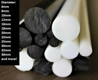 ACETAL DELRIN POM - C PLASTIC ROD BAR BLACK / WHITE (NATURAL) | 245 mm Lengths