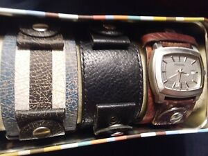 Fossil Men's Watch Set With 3 Interchangeable Leather Bands -