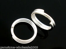 W09  300 PCs Silver Plated Double Loops Open Jump Rings 10mm