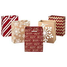 Hallmark Holiday Small Gift Bag Set - Snowflakes, Stripes, Merry Pack of 5; Red,