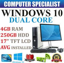 WINDOWS 10 FULL DELL COMPUTER DESKTOP TOWER SET PC 4GB RAM 250GB HD WIFI BARGAIN