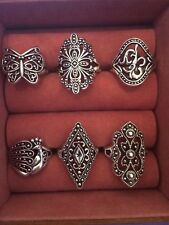 6 pcs Vintage style costume jewelry rings lot size 7 to 9 wholesale resell US