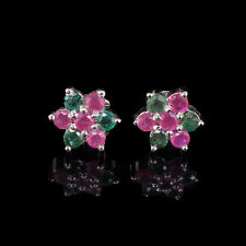 Natural Colombian Emerald Ruby Earrings Xquisite Pair 925 Solid Sterling Silver