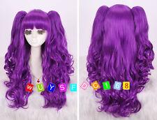 Lolita púrpura Rizado Split Tipo Lori Chica con colas de caballo Cosplay Peluca NO:302
