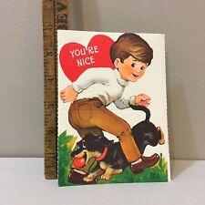 Vtg Valentine Card  Dark Hair Boy Black & Tan Dachshund Dog Hallmark Unused