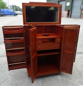 Superb Art Deco Style Mahogany Drinks Cabinet Cocktail Bar Fitted Interior