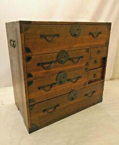 Antique Sugi & Keyaki Wood Tansu Chest Cupboard Japanese Drawers C1910s #288