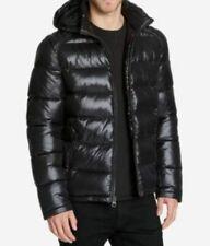 $224 Guess Men Black Puffer Hooded Down Warm Zip Jacket Winter Coat Size Large