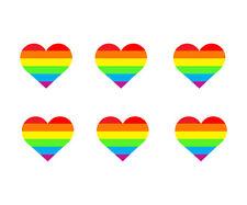6 Rainbow Heart Sticker Cell Phone Laptop Helmet die cut Decal LGBT Bi Gay Pride