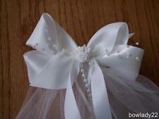 First Communion Veil Boutique White Satin Bow 3 Rose Center,Pearls,&Streamers