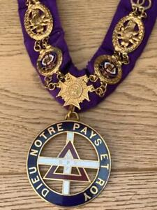 Impressive Ancient Order of Druids Gilt Metal & Enamel Grand Lodge Collar.