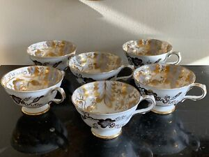 Grosvenor England 6 Inverness Pattern 9709 Footed Cups