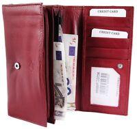 Damen-Geldbörse 17 x 10 cm Rot-Braun Leder Portemonnaie D-495069550008695