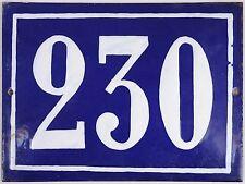 Old blue French house number 230 door gate plate plaque enamel steel metal sign