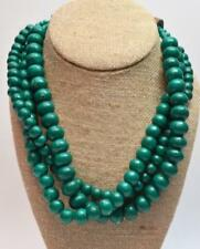 """Green Round Beads 3 Strands Wooden Clasp 19 1/2"""" Necklace"""