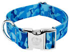 Country Brook Petz® 1 1/2 Inch Premium Blue Bone Camo Dog Collar