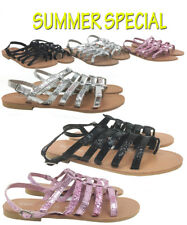 Womens Girls Gladiators Caged Summer Beach Flats Low Heel Cut Out Sandal Size3-8