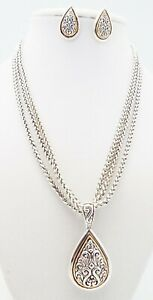 DESIGNER INSPIRED 18 in SILVER GOLD MULTI CHAIN PENDANT NECKLACE JEWELRY SET