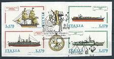 1978 ITALIA USATO BLOCCO NAVI FRAMMENTO CON ANNULLO FDC
