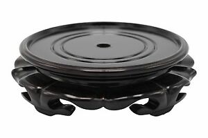 """Chinese Round Lotus Wooden Vase Stand 2""""- 12"""" D Wooden Base Home Decor"""