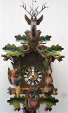Stunning Old German Black Forest Sugesa Hunter Deer Head Carved Cuckoo Clock!
