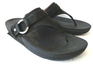 FITFLOP Via 196-001 EU 39 US 8M Black Suede Leather Thong Wedge Sandals Shoes