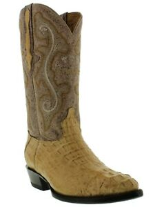 Mens Crocodile Boots Genuine Hornback Sand Leather Western Cowboy Pointed J Toe