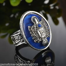 Women Silver Plated Oval Vampire Diaries Natural Lapis Ring