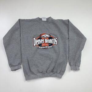 Vintage 90s Denver Broncos Crewneck Sweatshirt Size Youth XL Gray