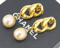 CHANEL Pearl Dangle Earrings Gold Tone Vintage 93P w/BOX