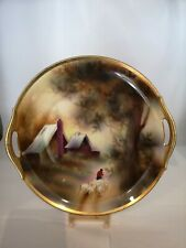 "RS Germany Hand Painted Sheep Herder / Rural Scene 10 1/2"" Cabinet Plate"