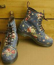 Dr Martens Castel, Blue Roses Floral Women's Canvas Boots, Size UK 6 EU 39