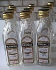 12 EMPTY Bushmills irish Whiskey 50ml Clear Glass Miniature Liquor Bottles Ver.A