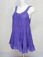 TOPSHOP purple Cotton sleeveless Long Tiered frill hem top blouse tunic S 8 10