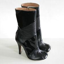 MAISON MARTIN MARGIELA split toe patent stripe high spike heel tabi boots 36 NEW