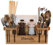 bamboo wooden utensil caddy flatware holder silverware organizer storage kitchen