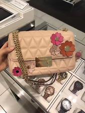 NWT Michael Kors OYSTER Quilted Sloan Large Floral Applique Shoulder Bag-New$358