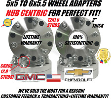 5x5 to 6x5.5 Hubcentric Wheel Adapters Use 6 Lug Wheel On 5 Lug Chevy GMC 12x1.5