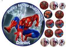 SPIDERMAN 7.5INCH +10x4cm + 2X3CM EDIBLE PERSONALISED BIRTHDAY ICING CAKE TOPPER