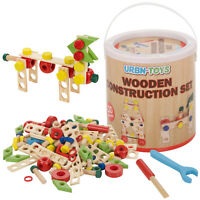 120pc Wooden Construction Building DIY Nuts & Bolts Tool Kit Toy Kid Builder Set