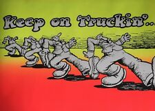 Keep On Truckin' R. Crumb Vintage Poster Blacklight pin-up Trucking Man Neon UV