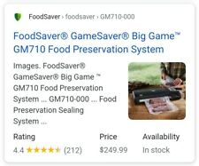 New listing FoodSaver GameSaver Big Game Gm710 Portable, Black, New!