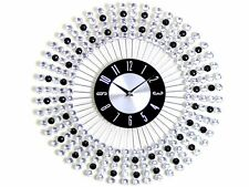 NEW STYLISH 43CM BLACK DIAMANTE BEADED JEWELED ROUND SUNBURST METAL WALL CLOCK