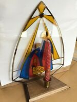 Vintage Mcm Hand Painted Nativity Stained Glass Panel With Wood Base,Red Candles