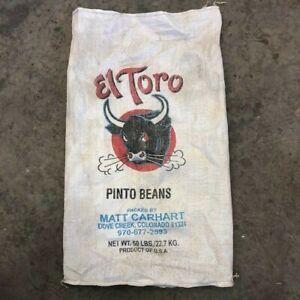 vintage farm grain sack El Toro pinto beans packaged in USA grain sack décor