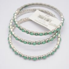Banana Republic Jewelry triple layered bangle silver tone green beads bracelet