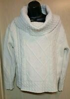 Carraig Donn Womens M-L Cable Knit Wool Sweater HUGE Cowl Neck Ireland Boxy