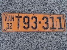 ANTIQUE 1932 KANSAS LICENSE TAG/PLATE - #T93-311