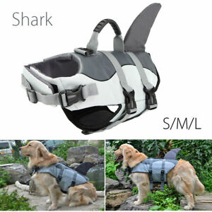 S/M/L Pet Dog Safety Swim Life Jacket Shark Float Vest Adjustable Buoyanc W!
