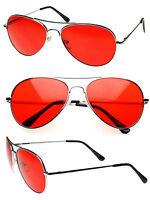 Retro Classic Metal Aviator Red Lens Aviator Sunglasses Spring Hinge Temple AV01